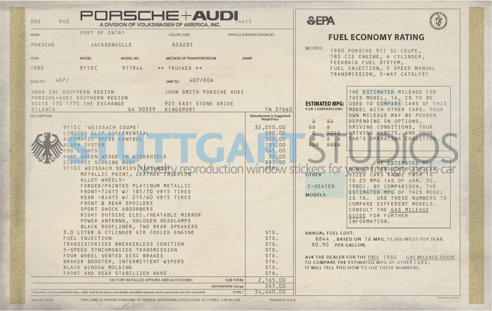 1980 Porsche 911 Weissach Edition Coupe Window Sticker