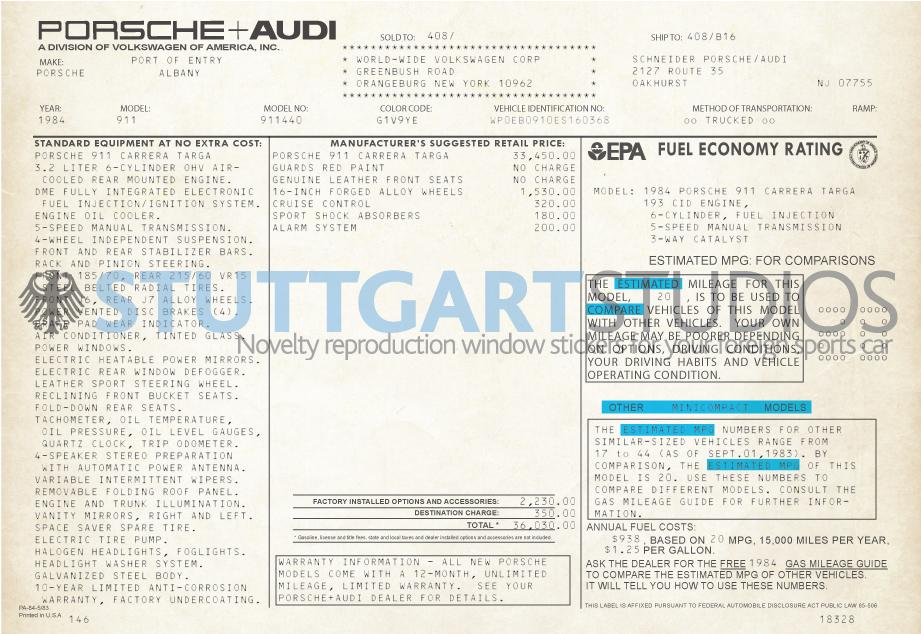 1984 Porsche 911 Targa Window Sticker