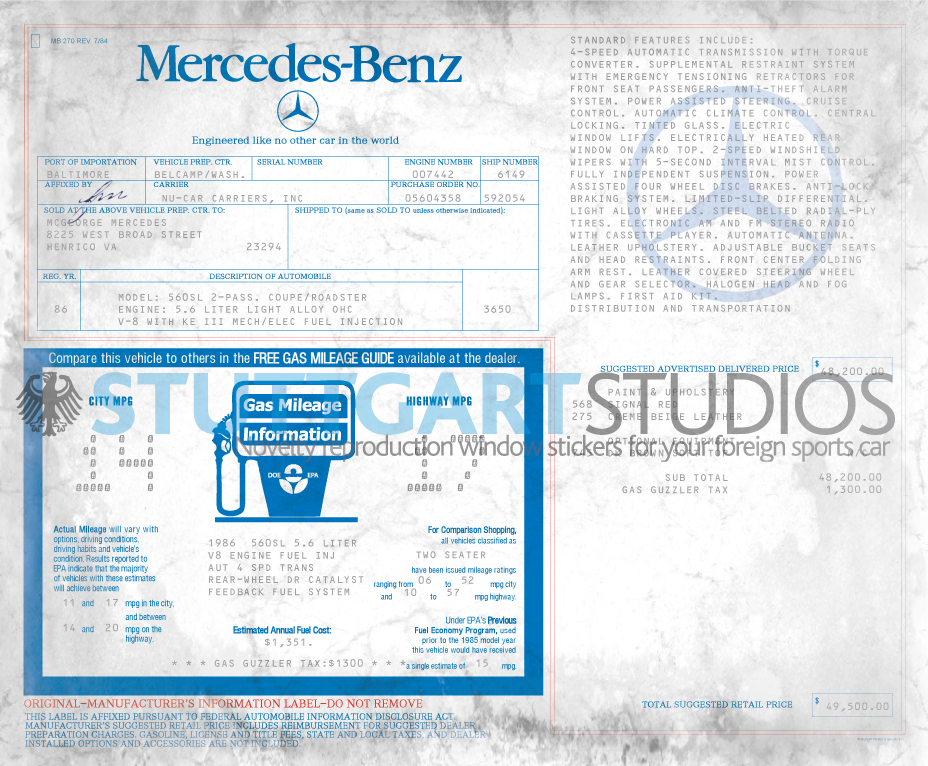1986 Mercedes-Benz 560SL Roadster Window Sticker