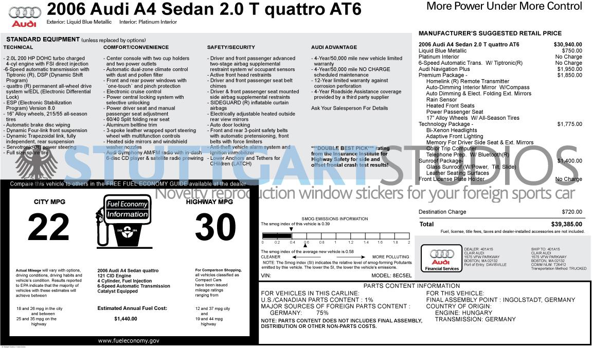 2006 Audi A4 2.0 T Quattro Sedan Window Sticker