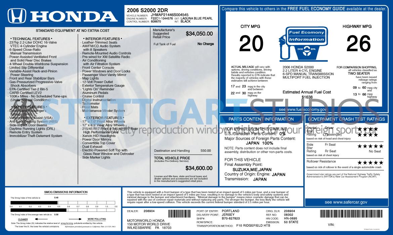 2006 Honda S2000 Window Sticker