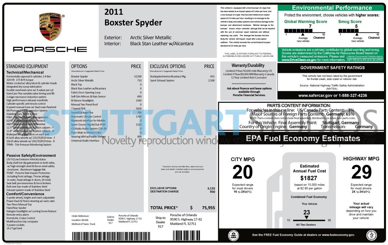 2011 Porsche Boxster Spyder Window Sticker