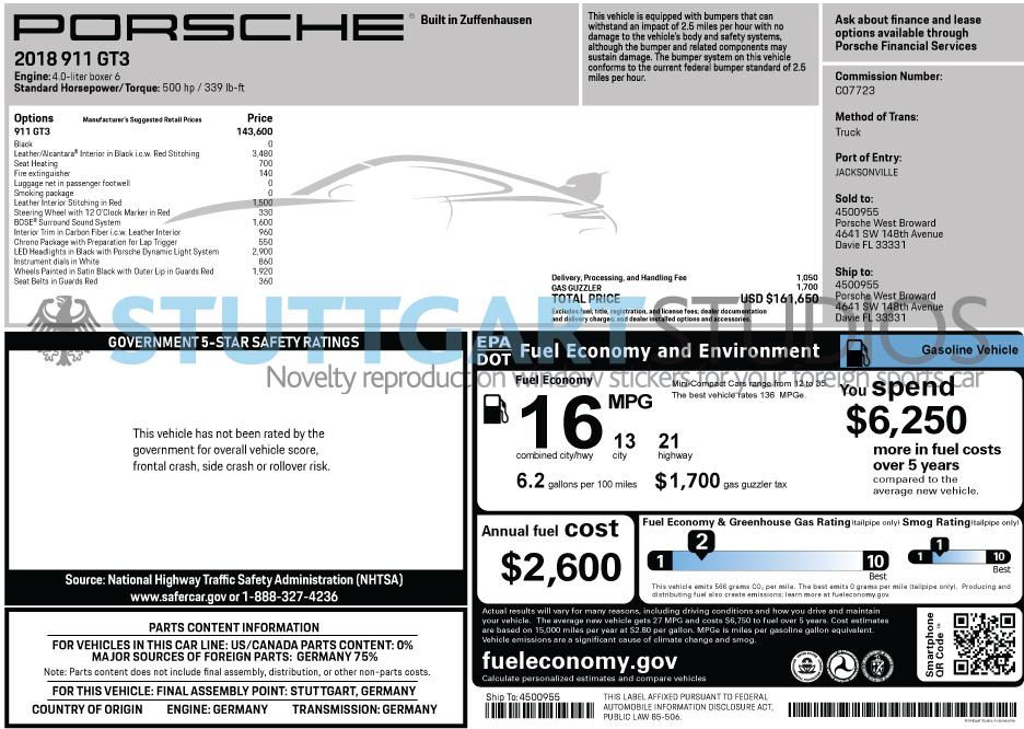 2018 Porsche 911 GT3 Window Sticker
