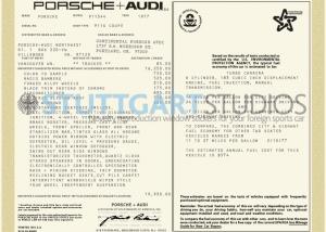 1977 Porsche 911 S Window Sticker