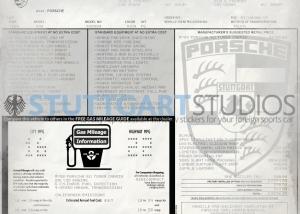 1988 Porsche 911 Turbo Slantnose Cabriolet Window Sticker