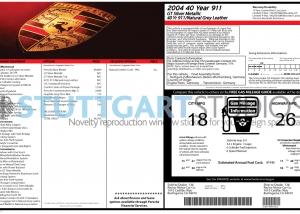 2004 Porsche 911 '40 Jahre' Anniversary Coupe Window Sticker