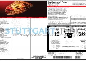 2005 Porsche 911 Carrera S Coupe Window Sticker