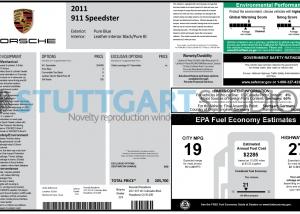 2011 Porsche 911 Speedster Window Sticker