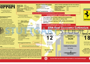 2012 Ferrari 458 Italia Window Sticker