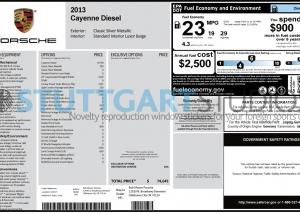 2013 Porsche Cayenne Diesel Window Sticker