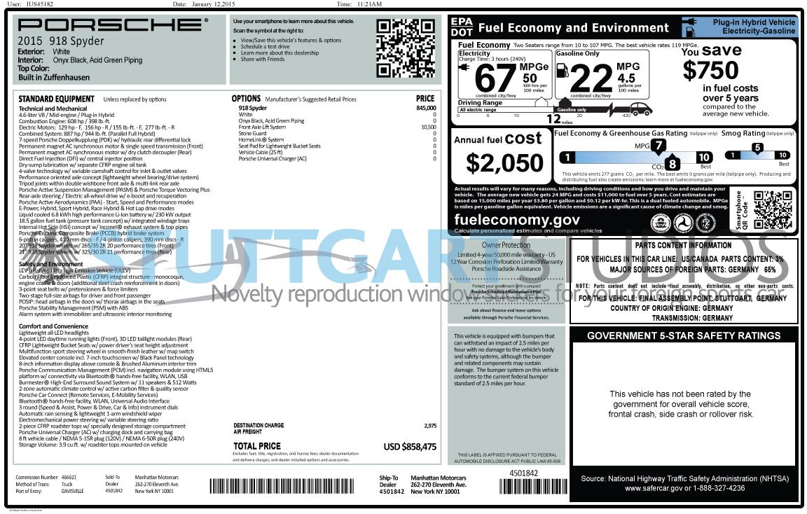 Porsche 918 Spyder Window Stickers Now Available