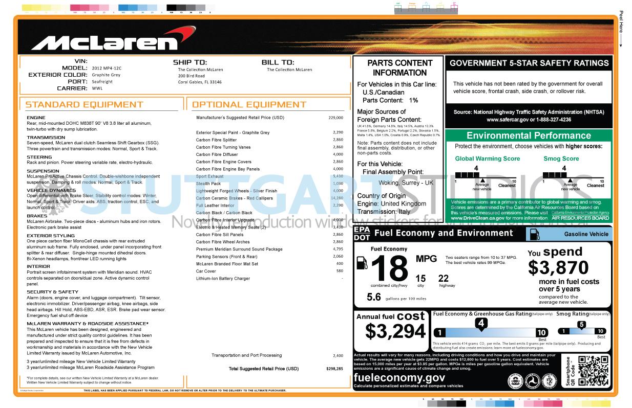 McLaren MP4-12C Window Stickers Now Available